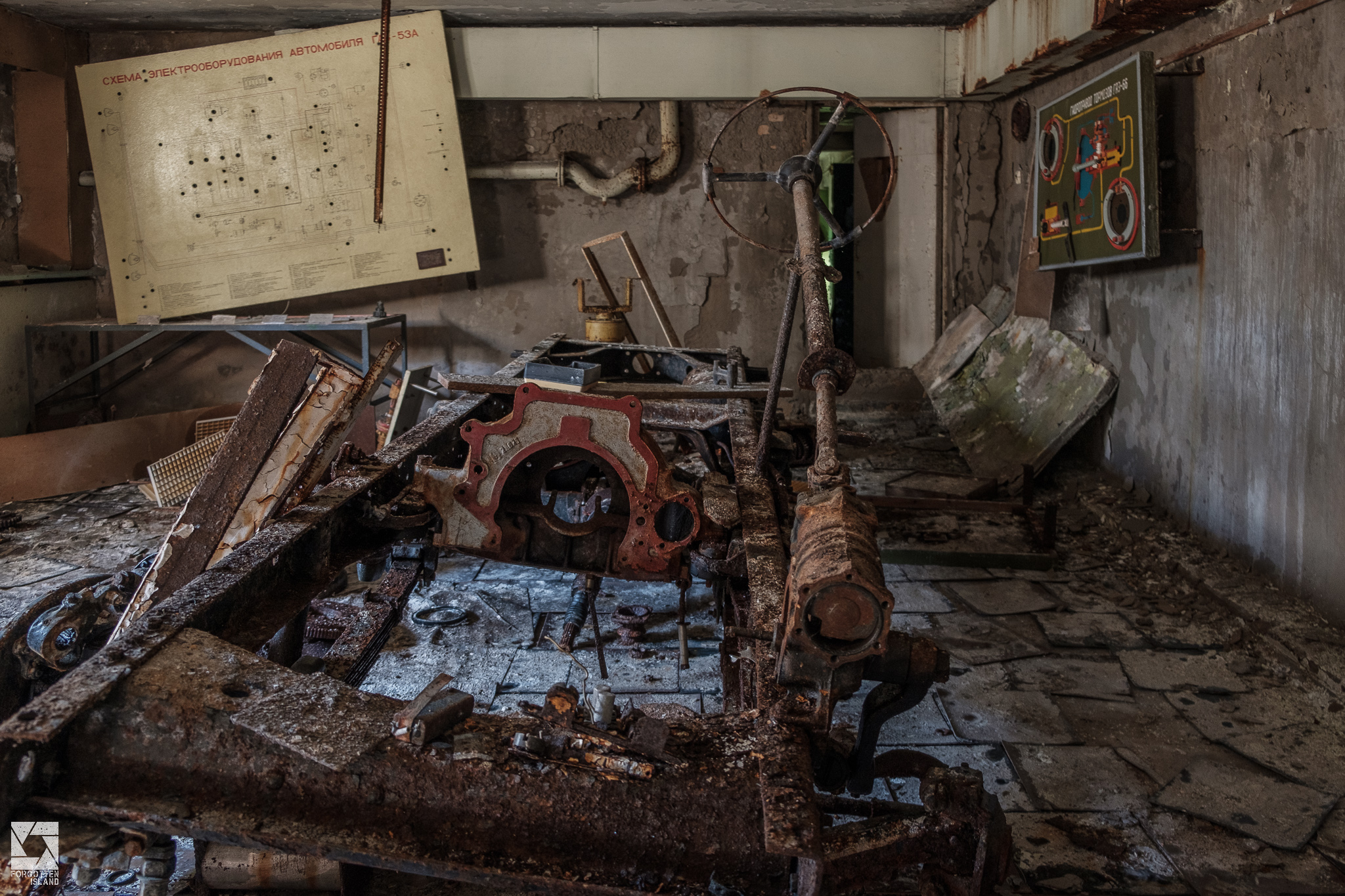 Basement with Abandoned Car in Pripyat