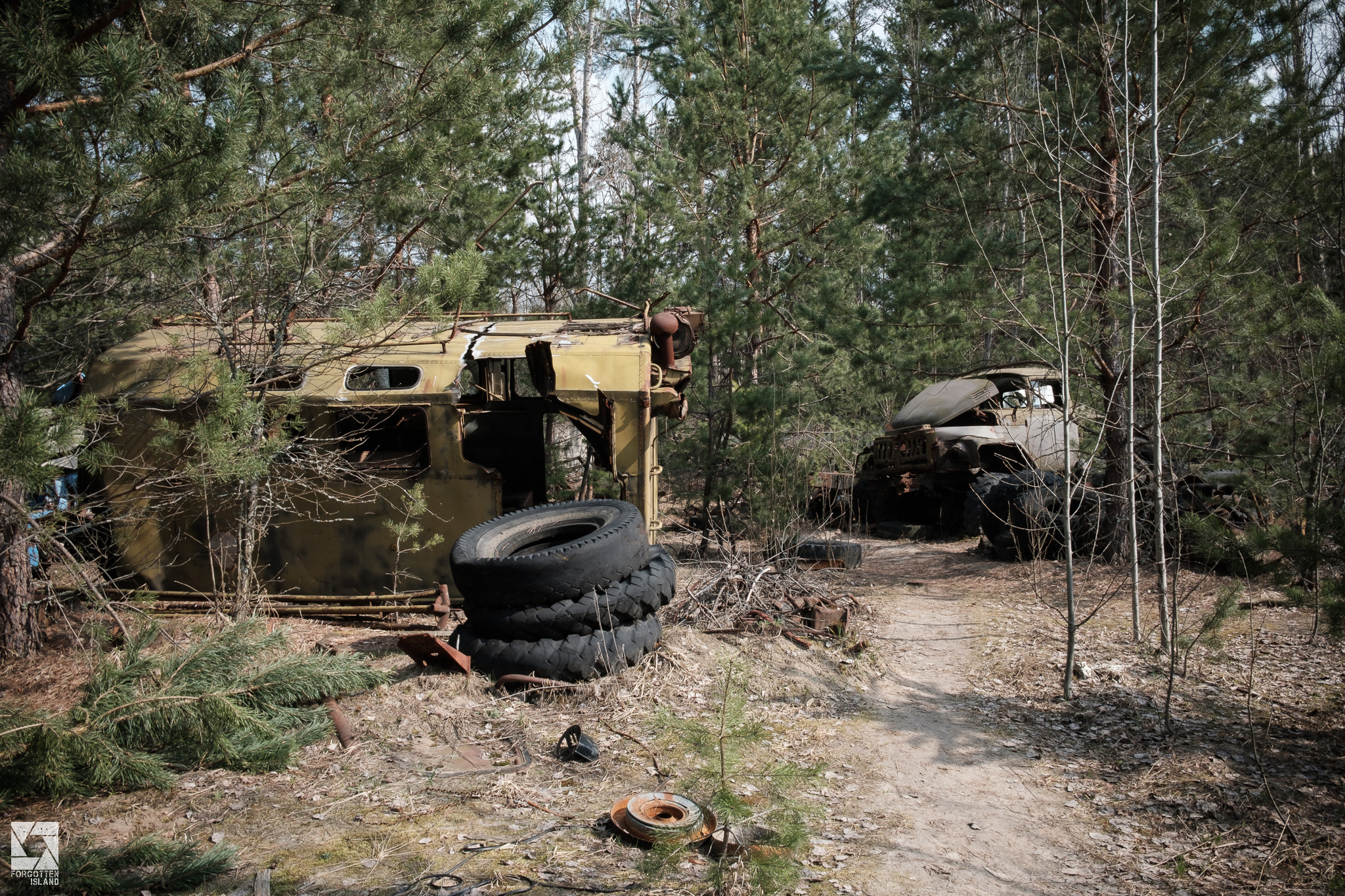 Vehicles at the Jupiter Factory in Pripyat